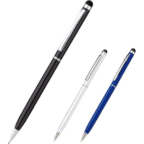 タッチペン付メタルスリムペン カラー(シルバー/ネイビー/ブラック)