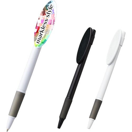 オーバルクリップボールペン カラー(ブラック/ホワイト)